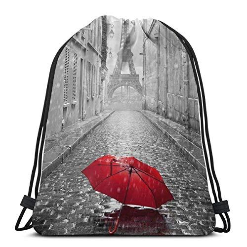 Mochila con cordón para gimnasio, diseño de la Torre Eiffel de la calle de París con paraguas rojo, para hombres y mujeres