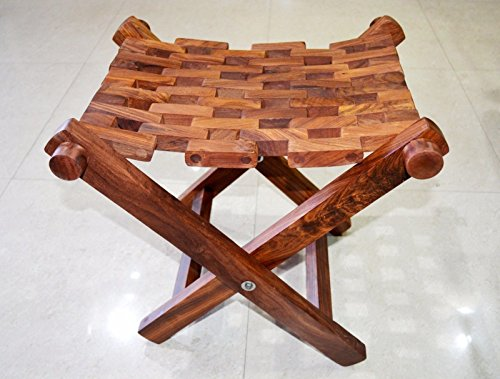 Sheesham Wood Folding Chair Mat Style Fishing Stool - Hamdmade in India