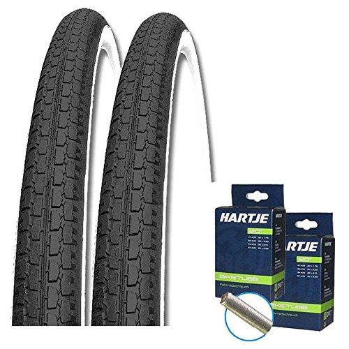 SET: 2 x Kenda K127 SCHWARZ-WEISS Fahrrad Reifen 26x1.75 / 47-559 + SCHLÄUCHE AUTOVENTIL