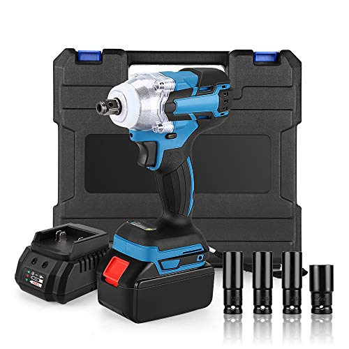 Cheapest Prices! 21V Cordless Impact Wrench Kit, Elikliv 300ft-lb Brushless Impact Wrench 1/2 Inch D...