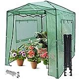 Giantex 8'x6' Portable Greenhouse, Steel Pop up Greenhouse Tent Frame, Quick Setup Greenhouse Canopy, Zipped Front Door, 2 Rolled-Up Windows, Indoor & Outdoor Walk-in Greenhouse (Green)