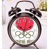 目覚まし時計 - 東京夏季オリンピック1964 Logo Japanの大音量目覚まし時計 バックライト 静か 連続秒針 スヌーズ 電池式 置き時計 卓上時計 直径約4インチ(ブラック)