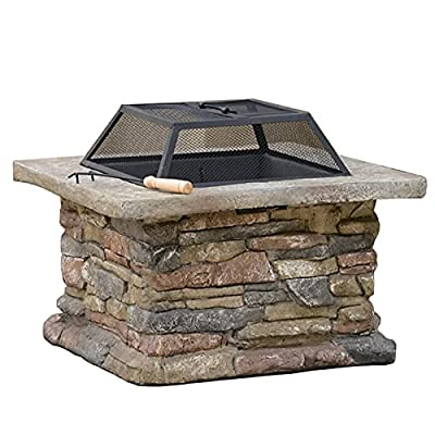 Fire Pit 24-inch Wood-Burning fire Pit Table, Villa Courtyard Square Barbecue fire Pit, Heater, ice Pit (Color : Style1) by Lijack