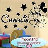 Wandtattoo–Mickey Maus personalisierbar Name (Name, Text)..., babyblau, -Small -SIZE 60cm x 20cm (24' x 8')