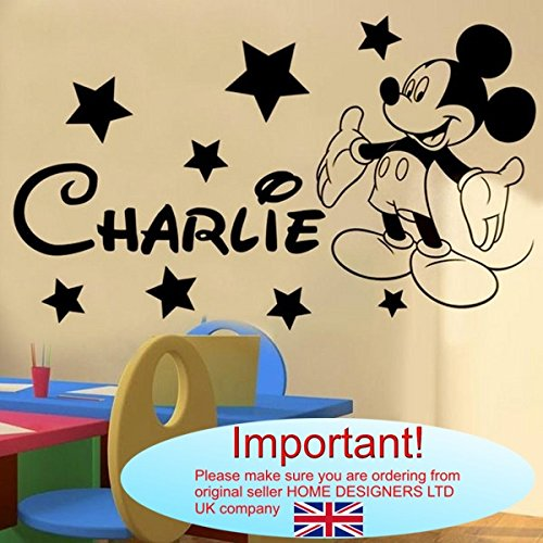 Wandtattoo–Mickey Maus personalisierbar Name (Name, Text)..., schwarz, -Small -SIZE 60cm x 20cm (24