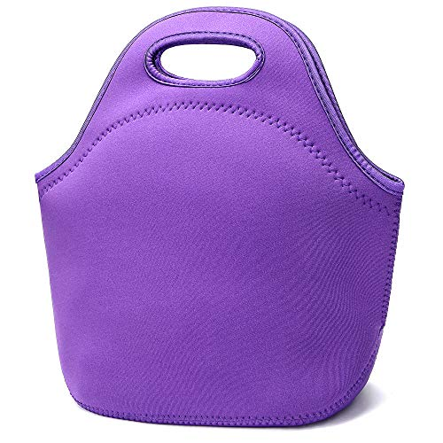 Neoprene Lunch Bags Insulated Lunch Tote Bags for Women Washable lunch container box for work picnic Lightweight Meal Prep Bags for Men Women (Purple)