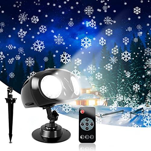 Lampada di proiezione a LED, Proiettore Luci Natale LED Natalizia, Caduta Della Neve Proiettore con Telecomando, per Natale, esterno, impermeabile, IP65, per interni ed esterni, feste, matrimoni