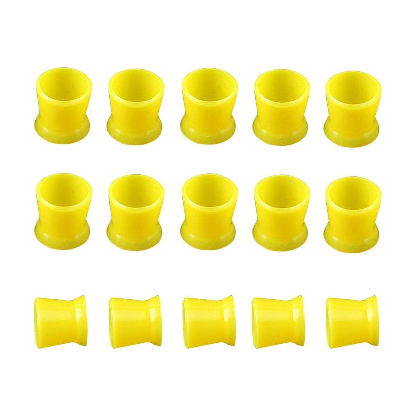 刺繍原子増強するHealifty 300PCSシリコーンタトゥーインクカップ使い捨てマイクロブリーディングピグメントキャップホルダーコンテナ永久的なまつげメイクアップ眉(イエロー)