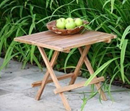 Teak-Klapptisch-Massiv-Balkontisch-Beistelltisch- Blumen-Hocker-Side-Table 50x50cm viereckig