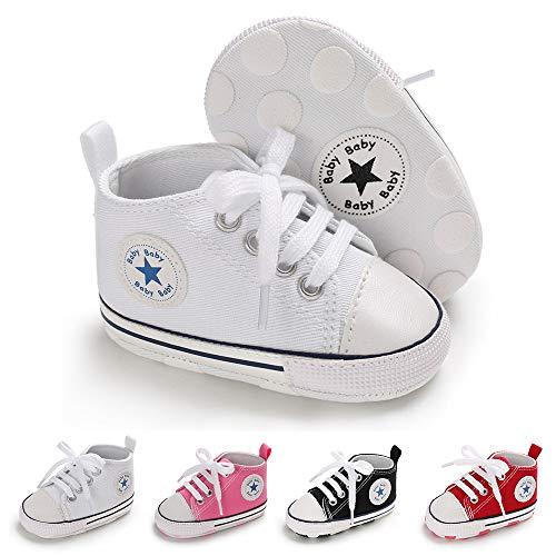 BiBeGoi Bebé Bebé Niños Niñas Zapatillas De Lona De Alta Parte Superior Con Cordones Cuna Casual Zapatos Recién Nacidos Primeros Caminantes Cribster Zapato, A02 Blanco, 0-6 meses