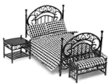 Aztec Imports, Inc. Miniatura para Casa de Muñecas Negro Hierro Forjado Alambre Set Muebles Habitación con Cama