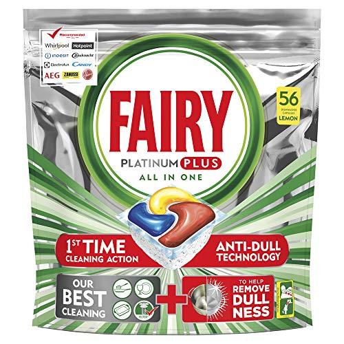 Fairy Platinum PLUS - Spülmaschinentabs All-In-One 56 Kapseln Zitrone, Lemon Geschirrspültabs, Geschirrspülmittel Tabs in Sparpack