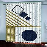 YUNSW Geometrische Bronzing Graffiti Schatten Vorhänge, Garten Wohnzimmer Schlafzimmer Küche Schallschutzvorhänge, Perforierte Zweiteilige Vorhänge