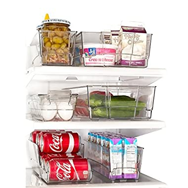 Refrigerator Organizer Set of 6 - Refrigerator Stacking Freezer Bins with Handles - Heavy Weight and Heavy Duty BPA-Free Shatter Resistant Clear Plastic by Clever Home