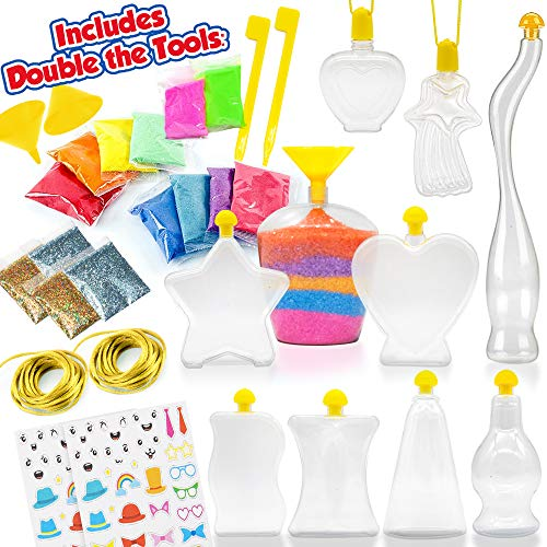 Sand Art Kit - Colored Play Sand Art Kits for Kids - Glitter and Glow In The Dark Colored Kids Sand - Creative DIY Activity with Fun Bottle Shapes, Design Tools & Stickers to Decorate w/ Instructions.