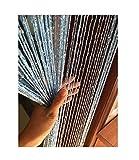 Eyotool 1x2 M Door String Curtain Rare Flat Silver Ribbon Thread Fringe Window Panel Room Divider Cute Strip Tassel for Wedding Coffee House Restaurant Parts, Sky Blue