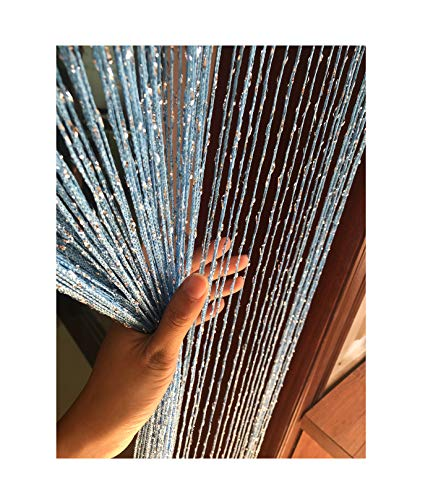 Eyotool 1x2 M Door String Curtain Rare Flat Silver Ribbon Thread Fringe Window Panel Room Divider...