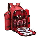 apollo walker 4 Person Red Picnic Backpack with Cooler Compartment Includes Tableware & Fleece Blanket 45' x53(red)