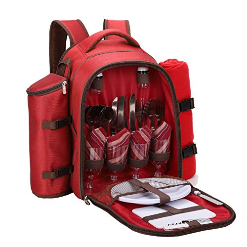 """apollo walker Picnic Backpack Bag for 4 Person with Cooler Compartment, Detachable Bottle/Wine Holder, Fleece Blanket(45""""x53""""), Coffee Mugs,Plates and Cutlery (Blue)"""