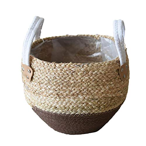 Newin Star Seagrass Vientre Baske, cestas de Flores de Paja Pot Seagrasss Picnic Tiesto Rattan Asas del Vientre Cesta de ultramarinos con la manija de la casa para Guardar