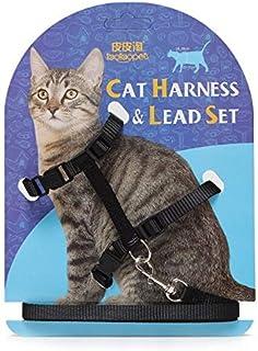 Fire Vibe Adjustable Cat Harness, Cat Collar, Black Cat Leash, Nylon Strap Collar with Leash,