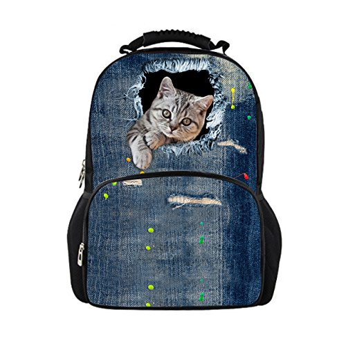 ShowuDesigns - Mochila para colegio, diseño de animales, color azul Multicolor Color 9