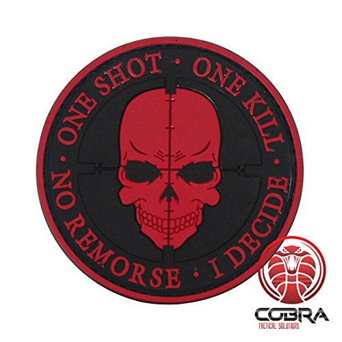 Cobra Tactical Solutions One Shot One Kill No Remorse I Decide Sniper Parche PVC Táctico Moral Militar Cinta Adherente de Airsoft Cosplay Para Ropa de Mochila Táctica