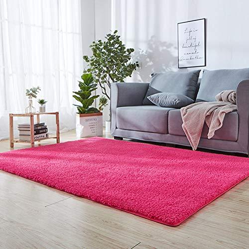 SODKK Flauschig Weiche Nachahmung Wolle Teppich Dunkelrosa 160 x 260 cm Klein Teppich Schadstoff geprüft 8 Rug Grippers Rutschfester Teppichunterlage für Wohnzimmer, Esszimmer. Gästezimmer