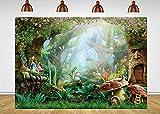 Fotupuul Fairy Tale Forest Photography Backdrop Cartoon Dreamlike Forest Garden Princess Girl Birthday Party Decorations (7x5FT)