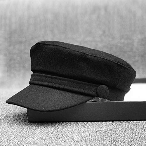 gorra Gorras Beisbol Gorras militares de fieltro para dama de cabeza pequeña, gorras militares de lana negra de talla grande para hombres, gorras militares de lana negra para adultos,black,56cm