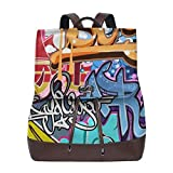 Flyup Graffiti Art Women's Leather Backpack,Unique Design With Elegant Appearance Mochila de cuero para mujer