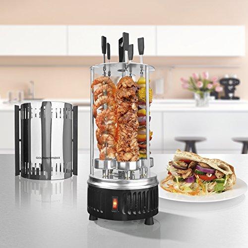 GOURMETmaxx Spießgrill 3in1 900W Edelstahl- für Schaschlik und Gyros, Dreh-Grill mit Schutzgitter inklusive 5 Spieße, vertikaler Kebab-Grill