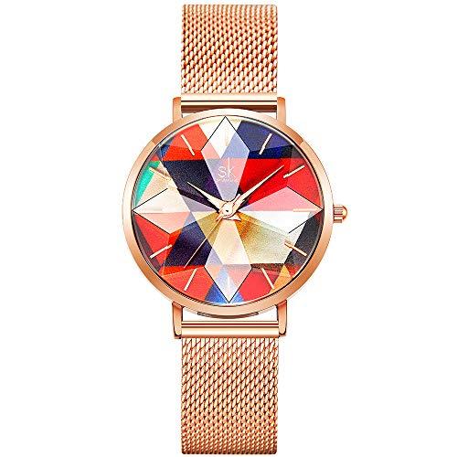 SHENGKE Estrella Relojes para Mujer Reloj Damas de Malla Impermeable Elegante Banda de Acero Inoxidable Relojes de Pulsera Moda Vestir Negocio Casual Reloj de Cuarzo (Seven Color-Mesh)