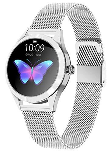 RXSHOUSH Reloj inteligente para mujer, redondo de acero inoxidable/correa impermeable periodo menstrual multifunción, reloj 240 * 198 HD resolución reloj plata