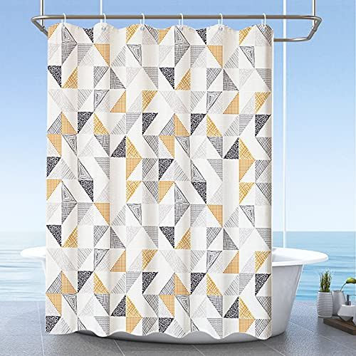 GUJIN Duschvorhang 180 x 200 cm Anti-Schimmel Wasserabweisend Waschbar Anti-Bakteriell Duschvorhäng aus Polyester Badvorhang mit 8 Duschvorhängeringen (Dreieck)