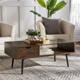 Walker Edison Montclair Mid Century Modern Two Toned 1 Drawer Coffee Table, 42 Inch, Glass and Dark Walnut