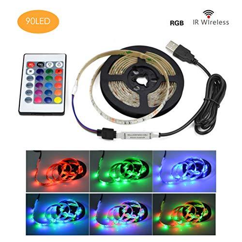 Macabolo USB LED String RGB LED strip licht flexibele decoratieve lichtbalk met afstandsbediening voor TV/PC/laptop achtergrondverlichting