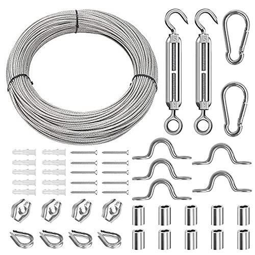 Kit Suspensión de Cuerda, 30M Cable de Acero Inoxidable, Tensores Alambre, Cable de Acero Galvanizado de Alambre kit de Cable Recubierto, Alambre de la Cerca de Imagen Suspensión, Tendedero Exterior