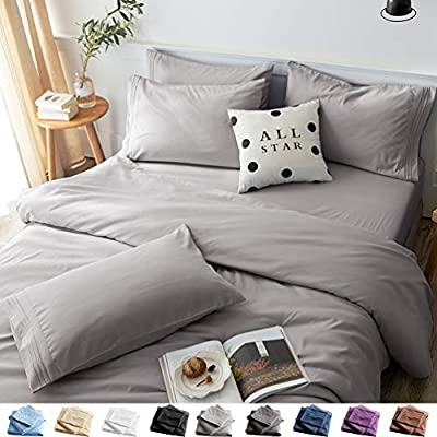 LBRO2M Bed Sheets Set Full Size 6 Piece 16 Inches Deep Pocket 1800 Thread Count 100% Microfiber Sheet,Bedding Super Soft Hypoallergenic Breathable,Resistant Fade Wrinkle Cool Warm (Grey)