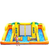Blast Zone Rainforest Rapids - Inflatable Water Park with Blower - Dual Slides and Climbers - Splash Area - Large Bounce House