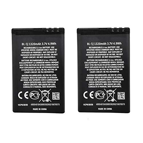 2 Pezzi 1320mAh BL-5J BL5J Batteria per Nokia 5230 5800 5800 Navigation Edition 5800 XpressMusic 5800T 5900 XpressMusic Asha 200 PN BL-5J