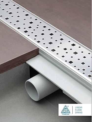 –Canaleta para desagüe de ducha acero inoxidable–Desagüe para plano 75cm Modelo: Square