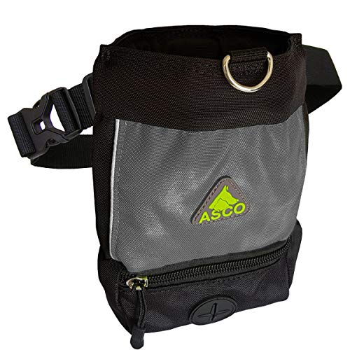ASCO Leckerlibeutel, Futterbeutel für Hunde, Pferde mit Einhand-Schnappverschluss, Premium Futtertasche 15x20 cm schwarz AC51TB