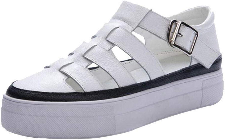 Flache Sandalen des weiblichen Sommerstudenten der Sandalen der rmischen Sandalen hohlen die Starke Wilde Plattform der Schuhe@Wei_39