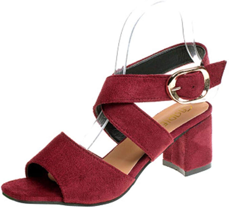 Duduxiaomaibu Women's Open Toe Mid Chunky Heel Pump Sandals