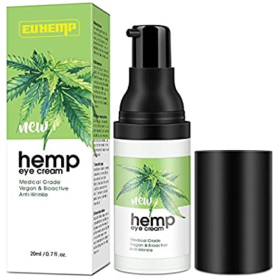 INTENSIVE Hemp Eye Cream Moisturizer, Anti-aging Eye Gel for Wrinkles, Bags under Eyes, Crow's Feet, Dark Circles & Puffiness, 2020 Best Day & Night Eye Treatment for Men & Women