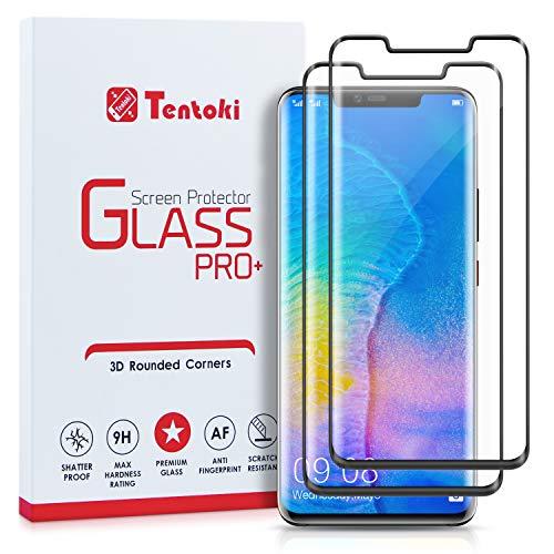Tentoki Verre Trempé pour Huawei Mate 20 Pro, [Lot de 2] Film Protection Ecran Vitre HD, [sans Bulles, Facile à Installer, Couverture Complète] Dureté 9H pour Huawei Mate 20 Pro