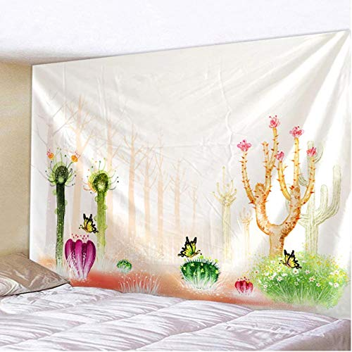 fczka Impresión de patrón de Cactus Tapiz Sala de Estar Dormitorio decoración Colgante de Pared Playa de Arena Toalla de Picnic 59x79 Inches(150x200cm)