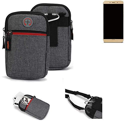 K-S-Trade® Gürtel-Tasche Für Allview X4 Soul Lite Handy-Tasche Schutz-hülle Grau Zusatzfächer 1x