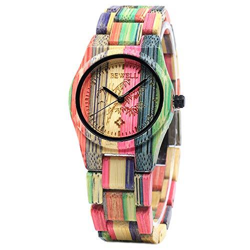 BEWELL Damen Uhr Holz Analog Japanisches Quarzwerk mit Bambus Armband Rund Armbanduhr Frauen (Mehrfarbig 1)